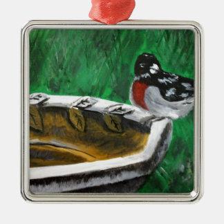 Bird and birdbath Silver-Colored square decoration