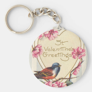 Bird and Bloom St Valentine's Greetings Basic Round Button Key Ring
