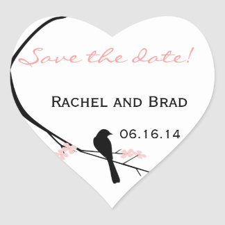 Bird and Blossom Save the Date Sticker