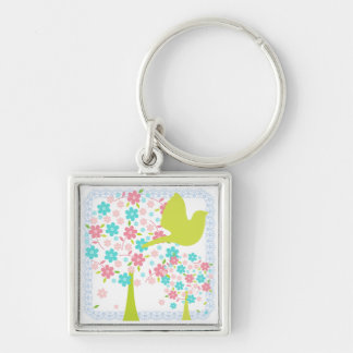 Bird and Blossoming Trees Keychain