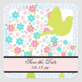 Bird and Blossoming Trees  Save the Date Stickers