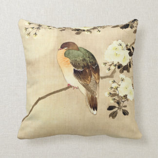 Bird and Blossoms Under Full Moon 1850 Throw Cushion
