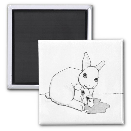 """bird and bunny (2/3) (2""""x2"""") square magnet"""