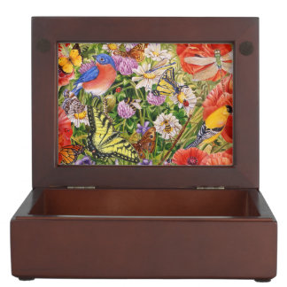 Bird and Butterflies Keepsake Box