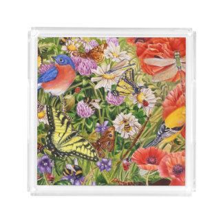 Bird and Butterflies Small Square Tray