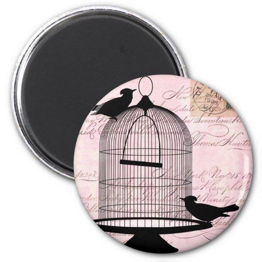 Bird and Cage Steampunk 6 Cm Round Magnet