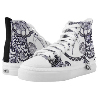 Bird and chaos abstract - slippers type talk high tops