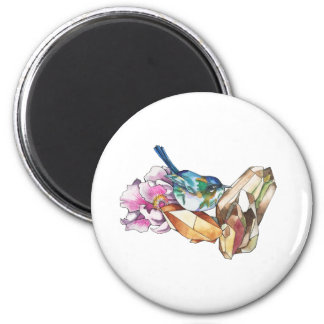 Bird and crystals magnet
