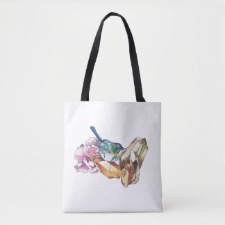Bird and crystals tote bag