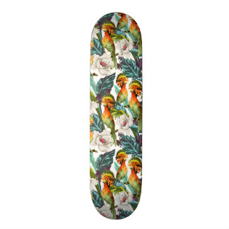 Bird And Exotic Flower Pattern 18.1 Cm Old School Skateboard Deck