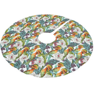Bird And Exotic Flower Pattern Brushed Polyester Tree Skirt