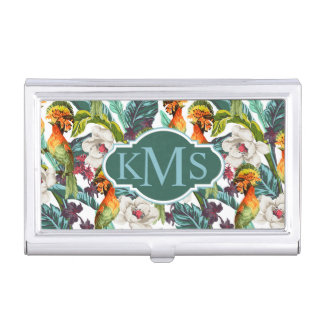 Bird And Exotic Flower Pattern | Monogram Business Card Holder