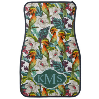 Bird And Exotic Flower Pattern | Monogram Car Mat