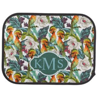 Bird And Exotic Flower Pattern | Monogram Car Mat