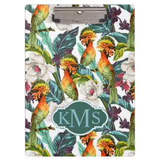 Bird And Exotic Flower Pattern | Monogram Clipboard
