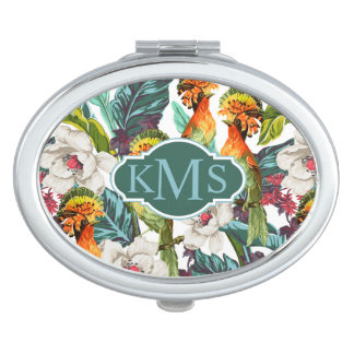 Bird And Exotic Flower Pattern   Monogram Compact Mirrors