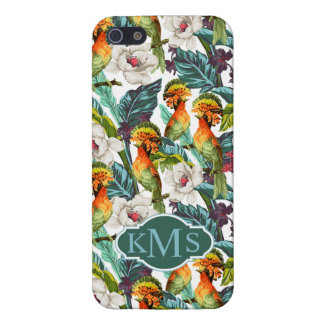 Bird And Exotic Flower Pattern | Monogram Cover For iPhone 5/5S