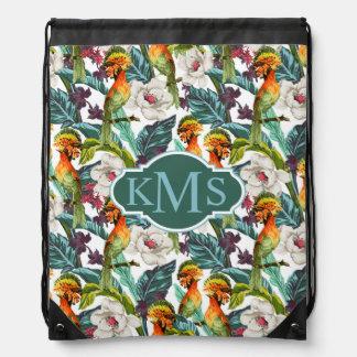 Bird And Exotic Flower Pattern | Monogram Drawstring Bag