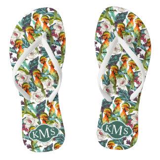 Bird And Exotic Flower Pattern | Monogram Flip Flops