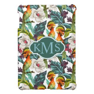 Bird And Exotic Flower Pattern | Monogram iPad Mini Case