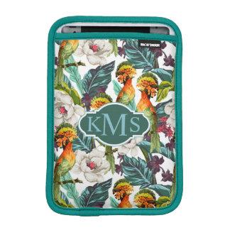 Bird And Exotic Flower Pattern | Monogram iPad Mini Sleeve