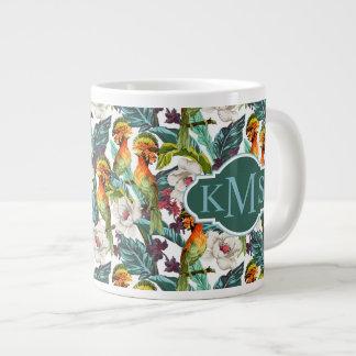 Bird And Exotic Flower Pattern | Monogram Large Coffee Mug