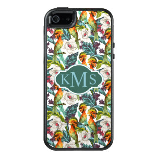 Bird And Exotic Flower Pattern | Monogram OtterBox iPhone 5/5s/SE Case