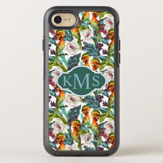 Bird And Exotic Flower Pattern | Monogram OtterBox Symmetry iPhone 8/7 Case