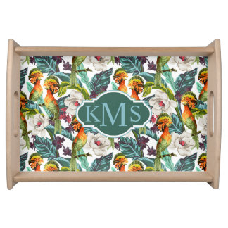 Bird And Exotic Flower Pattern | Monogram Serving Tray