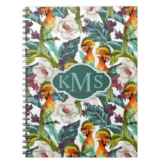 Bird And Exotic Flower Pattern | Monogram Spiral Notebook