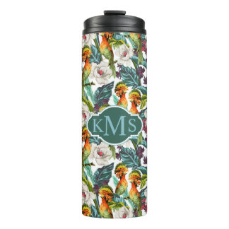 Bird And Exotic Flower Pattern | Monogram Thermal Tumbler