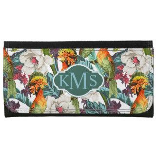 Bird And Exotic Flower Pattern | Monogram Wallet