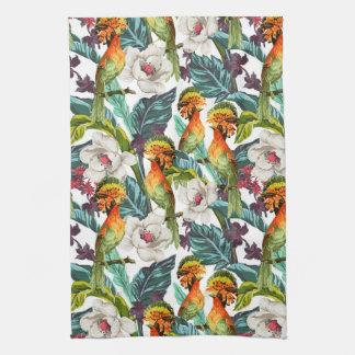Bird And Exotic Flower Pattern Tea Towel