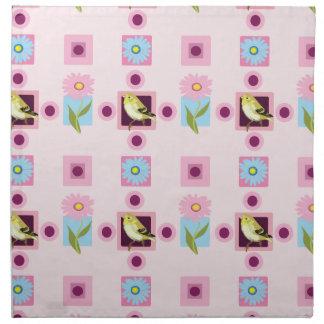 Bird and flora pattern napkin