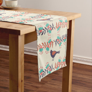 Bird and Floral Folk Art Short Table Runner