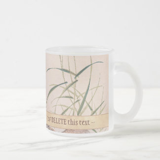 Bird and Flower Album, Wading Cranes vintage art Frosted Glass Mug