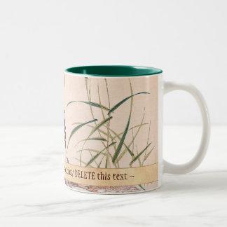 Bird and Flower Album, Wading Cranes vintage art Two-Tone Mug