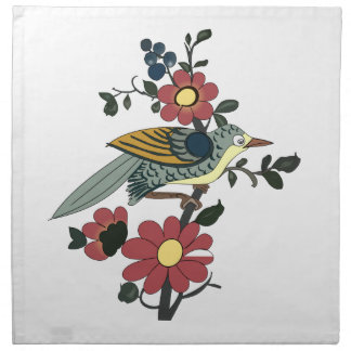 Bird and Flower Cloth Napkin