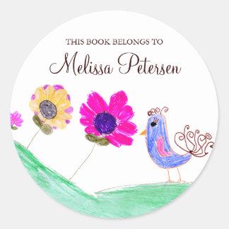 Bird and Flowers Bookplates Round Sticker