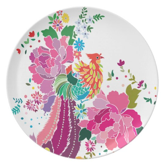 bird and flowers plate