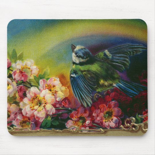 Bird and Flowers Postcard Mousepad
