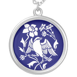 Bird and Flowers Silver Plated Necklace