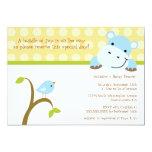 Bird and hippo polkadots baby shower invitation 13 cm x 18 cm invitation card