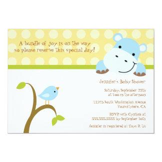 Bird and hippo polkadots baby shower invitation