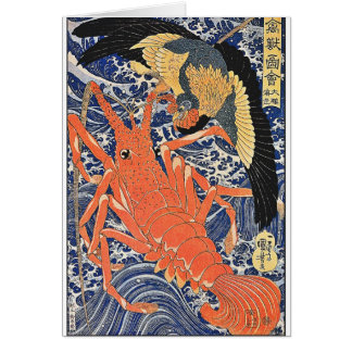 Bird and Lobster Japanese Woodblock Art Ukiyo-E Card