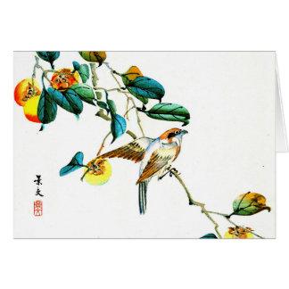 Bird and Persimmons 1892 Card