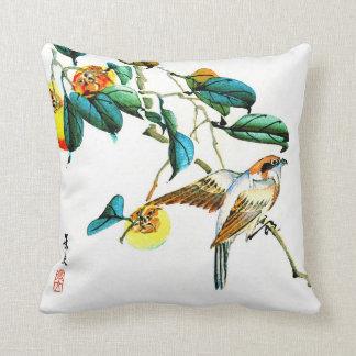 Bird and Persimmons 1892 Throw Pillow