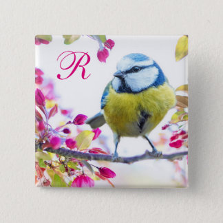Bird and Pink Blossoms Monogram 15 Cm Square Badge