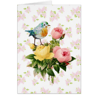 Bird and Roses Vintage Style original art Greeting Card