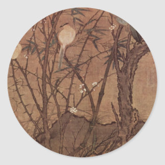Bird and Tree painting by Chinesischer Maler Round Stickers